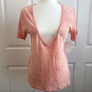 Free People Saturday Lace Trim Linen Blend Tee S